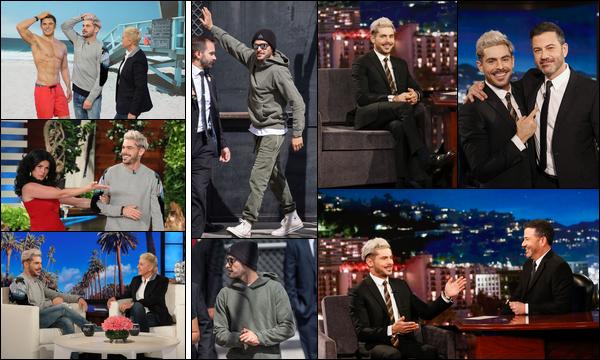 30.04.2019   ▬ Zac Efron était présent à l'émission de Ellen Degeneres intitulée «The Ellen Degeneres Show»    Dans la même journée Zac Efron qui enchaîne les apparitions sur les plateaux télé était présent au Jimmy Kimmel Live