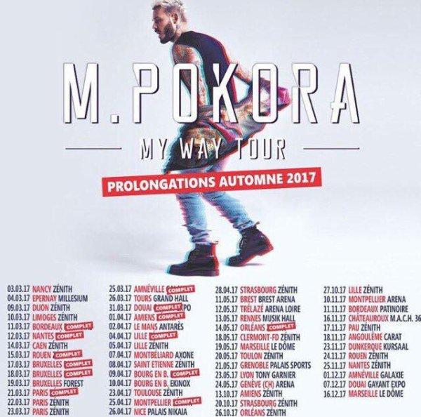 Voici les dates de la prochaine tournée de M. Pokora My Way Tour