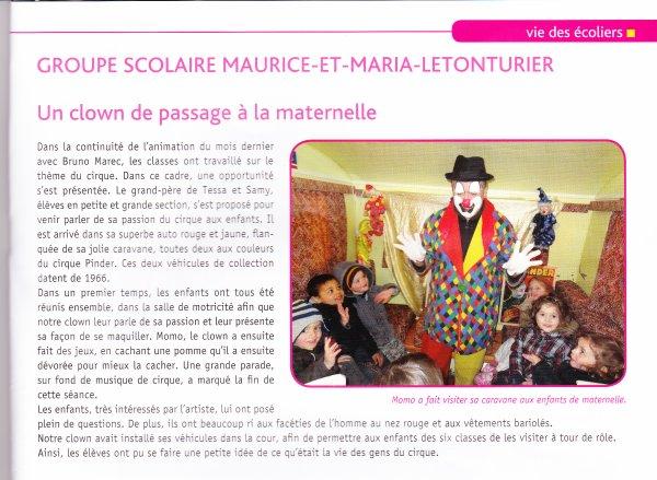 Momo le clown s'invite à la maternelle de Plédran ( Cotes d'armor 22 )