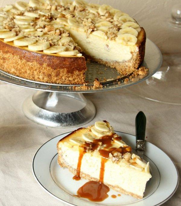 cheesecake a la banane et  aux noix