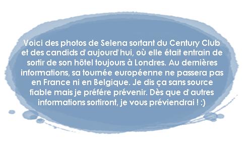 Vendredi 08 Juillet : Selena sortant de Century Club (où elle a la casquette) et où elle sort de son hôtel (l'autre) !