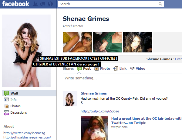 . Après, Twitter et son site officiel, Shenae n'aura jamais été aussi présente sur la toile car elle vient de faire apparition sur le plus grand réseau social à ce jour ! .