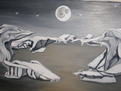 Une de mes premières toiles !! offerte à mon père !! 3 personnages sont cachés dans cette toile, à vous de les trouver!!
