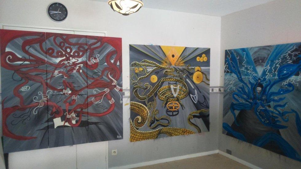 Triptyques créations originales By Linda Tatatron art contemporain! <3 expo en mai 2017 !!!