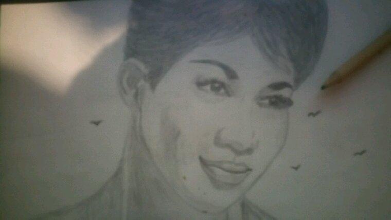 Aretha Franklin création  by Linda Tatatron crayon hb