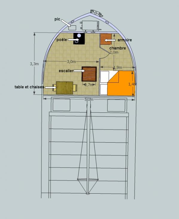 logement sur un automoteur de 38 mètre