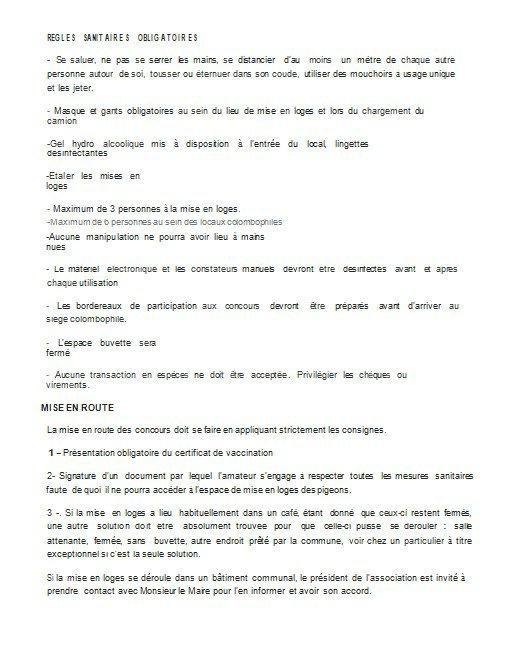 Directive de la FCF 2021 !!!