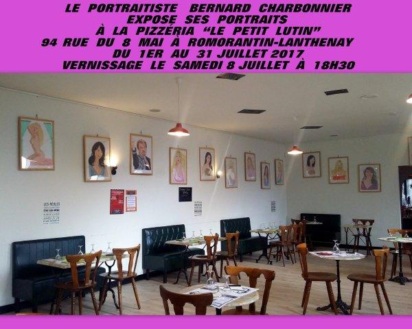 EXPOSITION DE MES PORTRAITS DU 1ER AU 31 JUILLET 2017 À LA PIZZÉRIA LE PETIT LUTIN 94 RUE DU 8 MAI À ROMORANRIN LANTHENAY