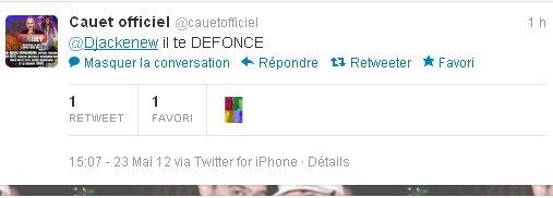 Djackenew et Cauet sur twitter