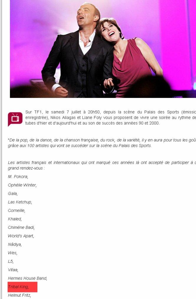 Tribal King dans  Génération Tubes de Toujours 7 juillet 2012 sur TF1