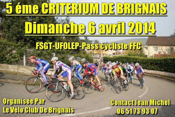 CRITERIUM DE BRIGNAIS DIMANCHE 6 AVRIL 2014