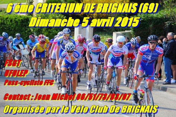 6 éme Critérium de Brignais le 05 avril 2015