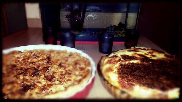 Quiche lorraine et tarte normande aux amandes et aux noisettes