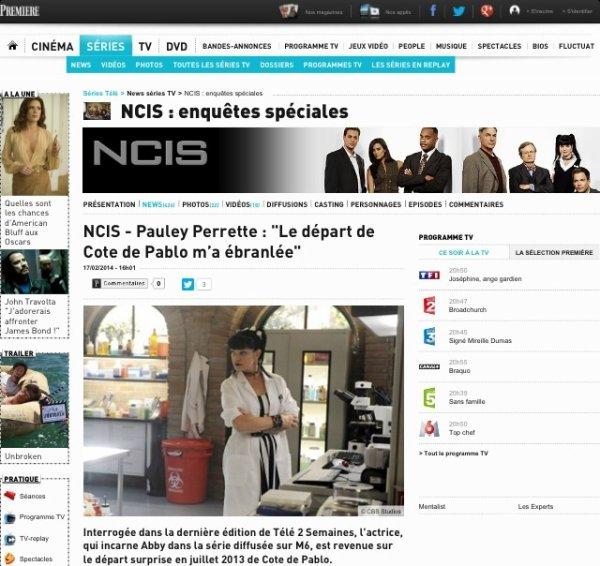 Interview de Pauley Perrette suite au départ de Cote