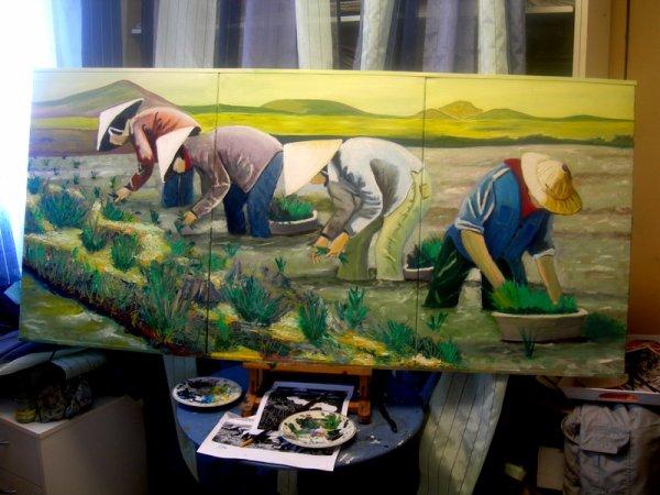 la plantation du riz ( huile ) 3 toiles de 50x70 soit 1.50x70