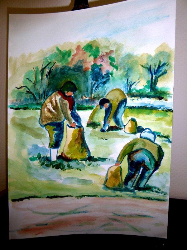 Ebauche sur la vie rurale avant mis en peinture sur toiles