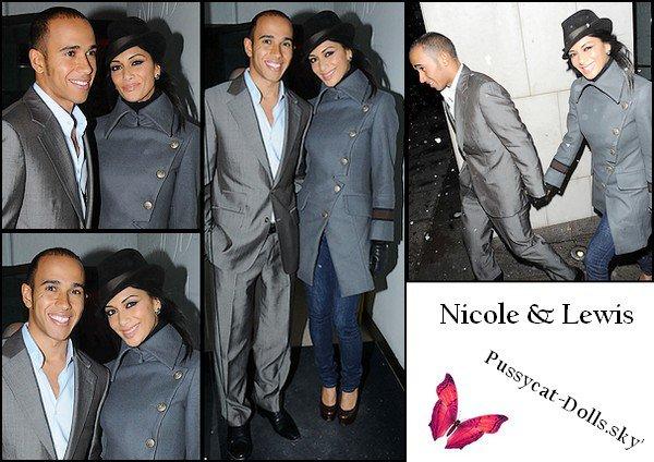 Nicole et Lewis sortant du restaurant Nobu Park Lane, à Londres 30/11/10