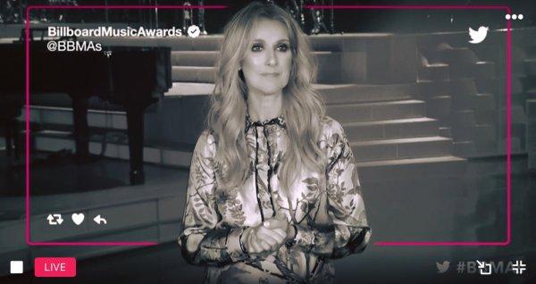 Céline ❤️ qui apparaît dans un message d'enregistrement rapide à propos de la Billboard Music Awards 👌