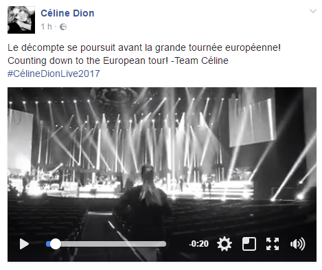 Le décompte se poursuit avant la grande tournée européenne!  Counting down to the European tour! -Team Céline #CélineDionLive2017