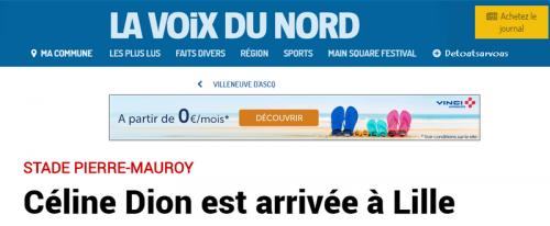 Céline Dion est arrivée à Lille 01/07/17