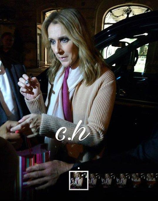 Céline au retour du 2ieme concert a Lille a fait quelques photos et autographes avant d'aller se coucher :)