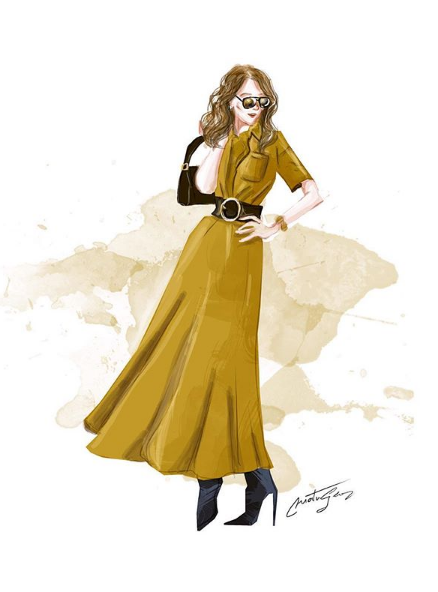 Comme pépé munoz illustrations, retrouver des croquis de Céline sur instagram réalisé par georg.martin