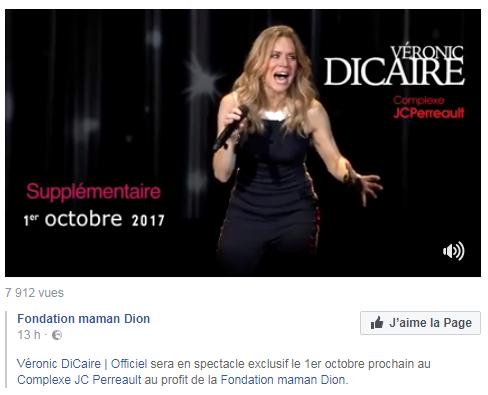Veronic Dicair va faire un concert au profit de la fondation  maman Dion le 1er octobre 2017