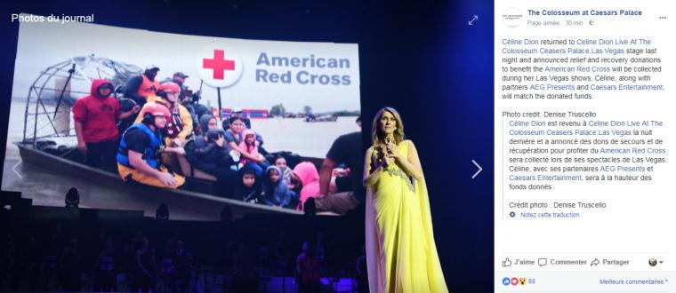 """Céline et son grand c½ur ! Hier soir, la chanson """"recovering"""" a été consacrée à la croix-rouge qui travaille pour les victimes des ouragans récents. Des dons de secours seront récupérés au profit de American Red Cross ils seront collectés lors de ses spectacles de Las Vegas."""