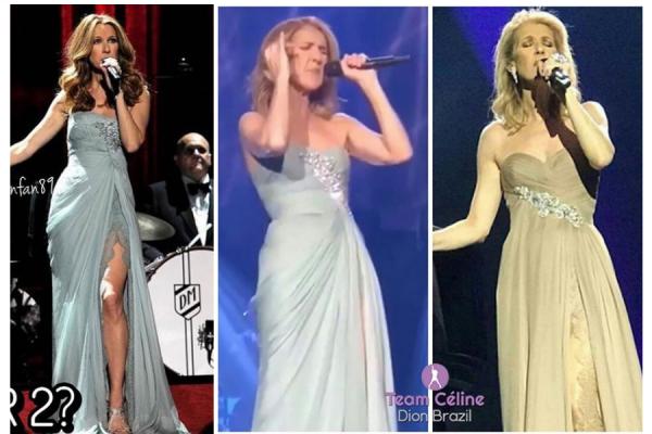 """Hier soir le 04/10/17 celine remettait la robe dorée à l ouverture . Re changement avec sa robe beige """"Elie Saab"""" au lieu de la bleu ciel et une coiffure que j aime moins :/"""