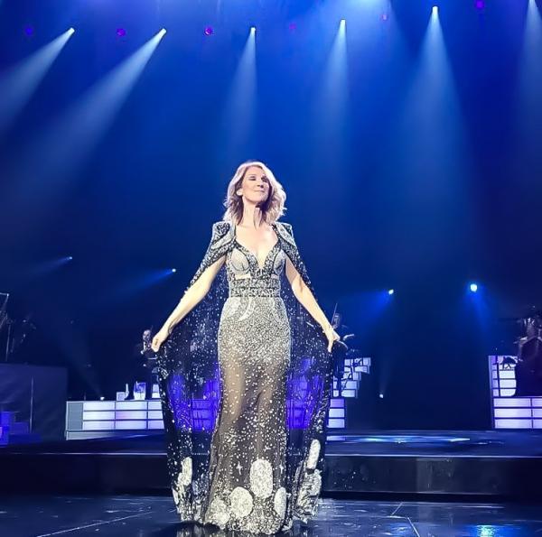 Hier soir le 08/11/17 Céline portait une nouvelle robe d' Alexander McQueen pour sa chanson my heart will go on