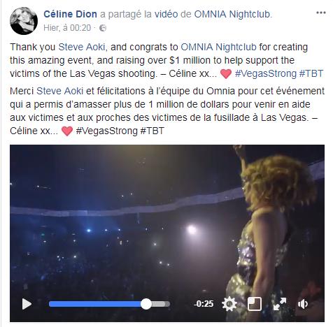 Merci Steve Aoki et félicitations à l'équipe du Omnia pour cet événement qui a permis d'amasser plus de 1 million de dollars pour venir en aide aux victimes et aux proches des victimes de la fusillade à Las Vegas. – Céline xx... <3