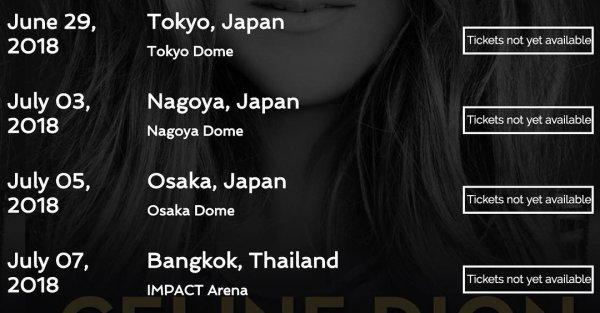 Tournée 2018  ⚠️⚠️⚠️Céline chantera à Bangkok en Thaïlande mais pas que ... Attention rien n'est encore officiel !!!