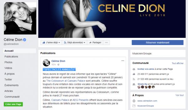 **SPECTACLES ANNULÉS**Céline prolonge son repos suite à son infection à la gorge et annule les deux derniers concerts de la série. Elle reprendra ses shows à Las Vegas le 27 mars.