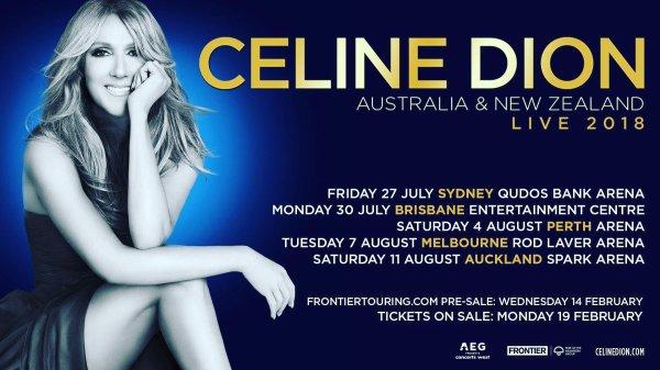 C'est officiel! Nous ajoutons des spectacles à la tournée #celinedionlive2018. J'aurai la chance d'aller en Australie et en Nouvelle-Zélande pour visiter Sydney, Brisbane, Perth, Melbourne & Auckland. J'espère vous y voir pour célébrer cette tournée avec moi ! - Céline xx…