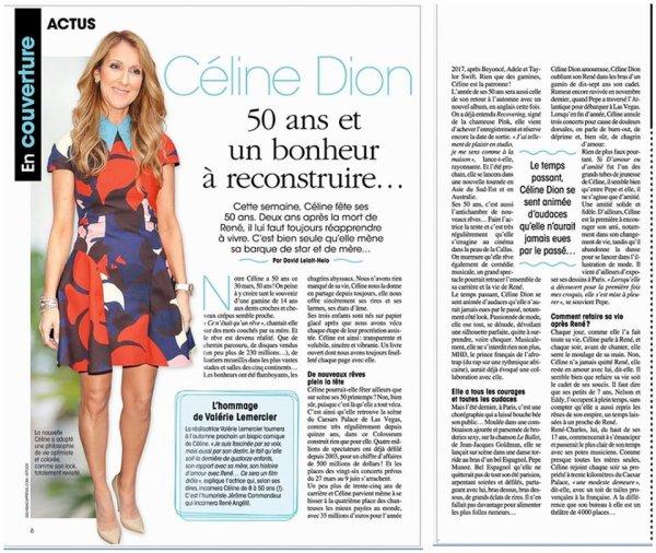 Céline Dion, qui s'apprête à fêter ses 50 ans le 30 mars ...