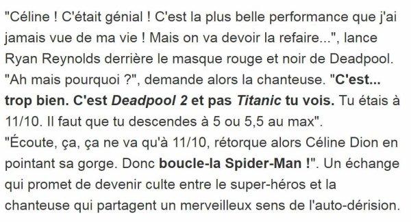 Comme promis, Céline Dion a lancé une nouvelle chanson en anglais ce matin. Comme la rumeur le voulait, la pièce, intitulée Ashes, est tirée du film de super-héros Deadpool 2, qui doit prendre l'affiche le 18 mai. On parle d'une ballade en puissance dotée d'un refrain sur lequel la diva peut montrer sa puissance vocale.