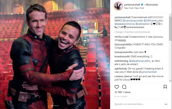C'est le danseur Yanis Marshall qui a doubler Ryan Reynolds pour le clip de Céline !