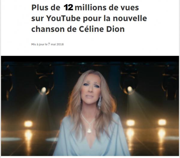Plus de soixante-douze heures après son lancement, la vidéo de la nouvelle chanson de Céline Dion, Ashes, avait franchi dimanche matin le cap des 10,7 millions de vues sur YouTube. BRAVO