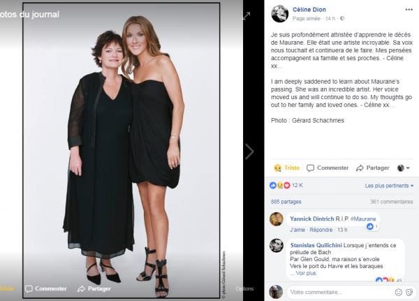 Un message de Céline pour le DC de Maurane