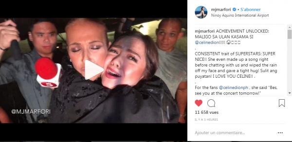 Céline interviewer devant son hôtel par mjmarfori: SUPER NICE !! Elle a même inventé une chanson juste avant de bavarder avec nous et a essuyé la pluie de mon visage et a fait un câlin serré!  JE T'AIME CELINE !!
