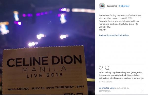 """Concert de Céline aujourd'hui à Manille le 19/07/18. Elle a repris le fond """"I love u"""" pour la fin"""