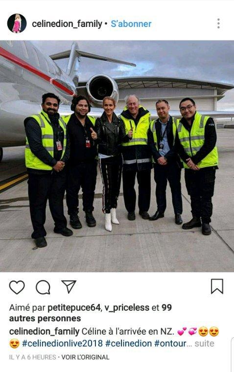 Celine est arrivé pour son dernier show du 14 Aout a Nouvelles Zélande