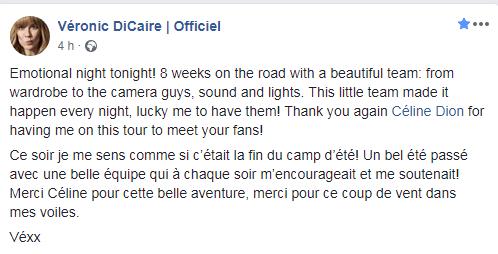"""""""Merci Céline pour cette belle aventure, merci pour ce coup de vent dans mes voiles.""""Véronic DiCaire"""
