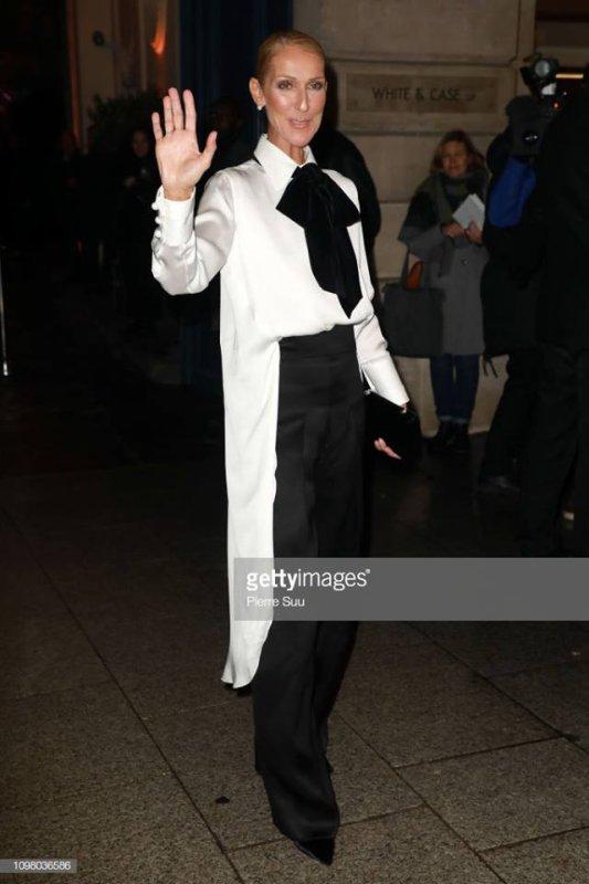 Le défilé Georgio Armani a attiré de nombreuses célébrités mardi après-midi à Paris.   Après les deux défilés Chanel mardi matin, Giorgio Armani a dévoilé sa collection Printemps-Été 2019 en fin d'après-midi à Paris. Parmi les célébrités présentes l'événement incontournable de la Fashion Week Haute Couture parisienne, Juliette Binoche, splendide dans une longue robe de velours asymétrique. La chanteuse Céline Dion, qui avait été aperçue un peu plus tôt au défilé Alexandre Vauthier dans une robe fendue à strass, est apparue dans une tenue androgyne chez Armani : un long pantalon noir de costume évasé assorti avec une chemise blanche qui tombait à l'arrière jusqu'à ses genoux, fermée avec un noeud en lavallière de tissu noir. Le tout accessoirisé avec un petit sac noir de la Maison de couture italienne. Comme plus tôt dans la journée, la star québécoise est apparue aux côtés de son ami, le danseur Pepe Munoz.