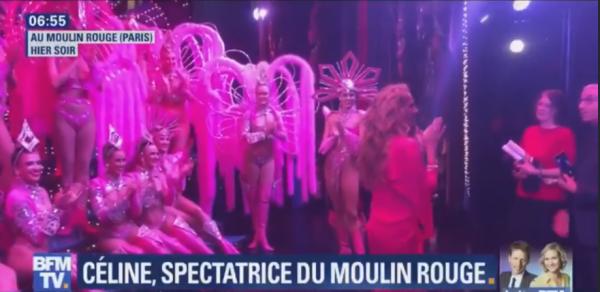 BFM TV passe un reportage sur le visite de Céline au moulin rouge, celine fini en chantant la vie en rose ;)