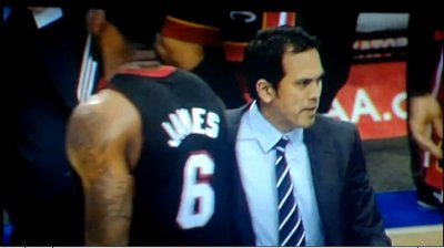 LEBRON JAMES BUMPS HEAT COACH ERIC SPOALSTRA AS HE ONCE DID CAVS COACH MIKE BROWN [BOTH VIDEOS]