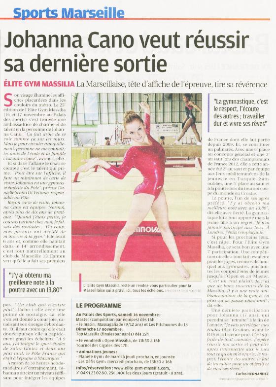 Johanna Cano, une merveilleuse gymnaste