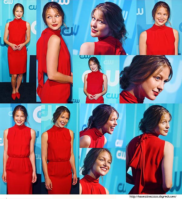 •••  EVENT Melissa était présente au  CW Network Upfront à New York City, le 18 mai 2017            Waouh ! Melissa est superbe, qu'est ce que le rouge lui va bien, j'aime sa coiffure. Mais petit flop pour ses chaussures.