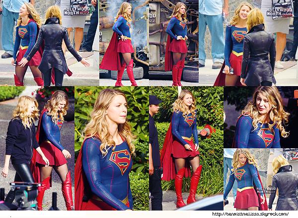 """•••  SG SET Melissa sur le tournage de la saison 03 de """"Supergirl"""" au côté de Yael Grobglas ,  26 juillet 2017                         Mel à l'air de bien s'amuser sur ce tournage, j'ai hâte de voir ce que cela va donner ! Toujours aussi belle dans son costume en tout cas."""