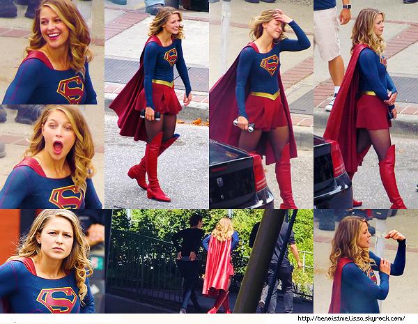 """•••  SG SET Mel sur le tournage de la saison 03 de """"Supergirl"""" à New Westminster au Canada ,  27 juillet 2017                         Nous retrouvons Melissa toujours aussi souriante et expressive sur le tournage en compagnie de sa co star Chyler Leigh."""